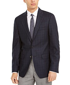 Men's Slim-Fit Windowpane Wool Sport Coat