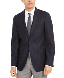 Calvin Klein Men's Slim-Fit Windowpane Wool Sport Coat
