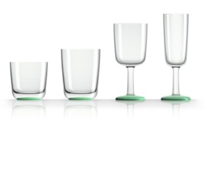 by Palm Tritan Wine Glass with Green non-slip base, Set of 2