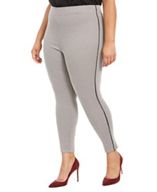 HUE® Plus Size Houndstooth Knit High-Waisted Cropped Skimmer Leggings