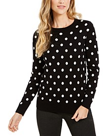 Dot-Print Crewneck Sweater, Created For Macy's