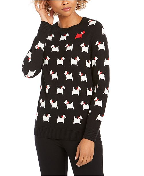 Charter Club Petite Embellished Printed Sweater, Created for Macy's