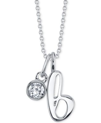 """Initial & Cubic Zirconia Silver-Plated Charm Pendant Necklace, 16"""" + 2"""" extender"""