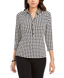 Printed 3/4 Sleeve Polo Top, Created For Macy's