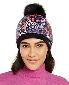 Graffiti All Weather Hat with Fur Pom