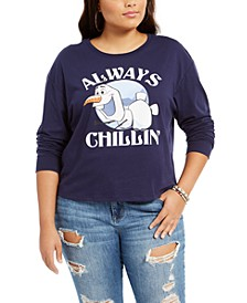 Disney by Trendy Plus Size Always Chillin Frozen Graphic-Print Top