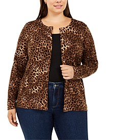 Plus Size Animal-Print Cardigan Sweater, Created For Macy's