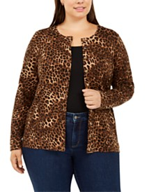 Charter Club Plus Size Animal-Print Cardigan Sweater, Created For Macy's
