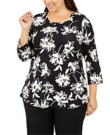 JM Collection Plus Size Scoop-Neck Printed Top, Created For Macy's