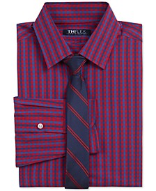 Big Boys 2-Pc. THFlex Stretch Gingham Check Shirt & Stripe Tie Set