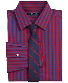 Tommy Hilfiger Big Boys 2-Pc. Classic/Regular-Fit THFlex Stretch Gingham Check Shirt & Stripe Tie Set
