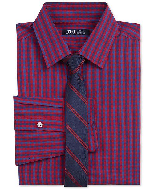 Tommy Hilfiger Big Boys 2-Pc. THFlex Stretch Gingham Check Shirt & Stripe Tie Set