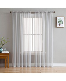 Lumino by Canberra Sheer Voile Rod Pocket Curtain Panels - 54 W x 84 L - Set of 2