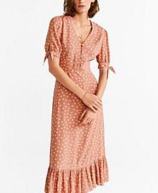 Polka-Dot Ruffled Dress