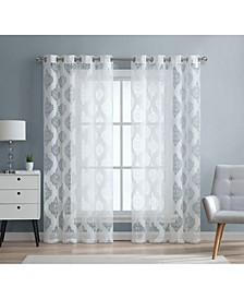 Lumino Sydney Damask Semi Sheer Grommet Curtain Panels - 54 W x 63 L - Set of 2