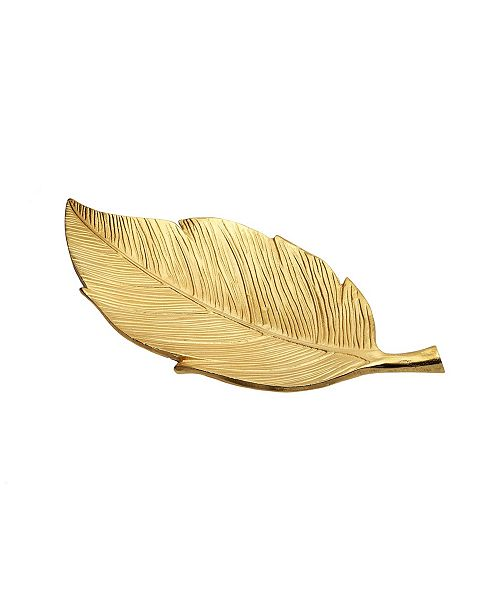 Classic Touch Gold Leaf Shaped Tray with Engraved Vein Design