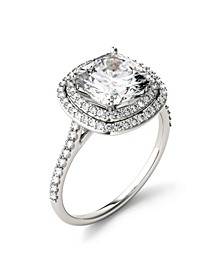 Moissanite Cushion Double Halo Ring 2-9/10 ct. t.w. Diamond Equivalent in 14k White Gold