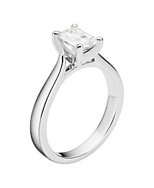Moissanite Emerald Solitaire Ring 1 ct. t.w. Diamond Equivalent in 14k White Gold