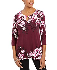 Floral-Print Embellished Top, Created For Macy's