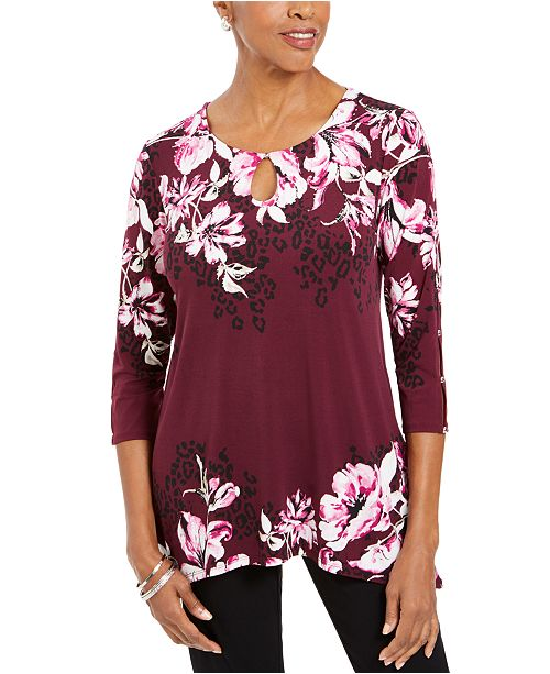 JM Collection Floral-Print Embellished Top, Created For Macy's