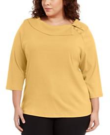 Karen Scott Plus Size Cotton Split-Collar Sweater, Created For Macy's