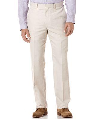 Cubavera Pants, Linen Blend Flat Front Herringbone Pant - Pants ...