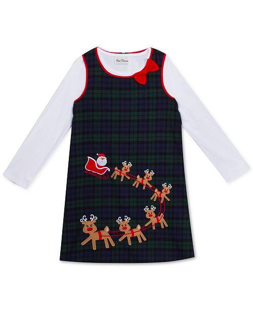 Rare Editions Toddler Girls Santa & Reindeer Jumper
