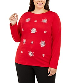 Plus Size Embellished Snowflake Top, Created For Macy's