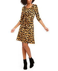 NY Collection Petite Printed Twisted Zip-Neck Dress