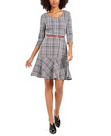 Petite Plaid Fit & Flare Dress