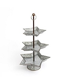 3-Tier 3-Inch High Galvanized Metal Star Serving Tray