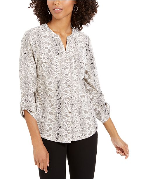 NY Collection Petite Printed Roll-Tab-Sleeve Button-Front Top