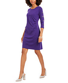 NY Collection Petite Ruched 3/4-Sleeve Sheath Dress