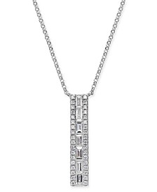 "Diamond Baguette Vertical Bar 18"" Pendant Necklace (3/8 ct. t.w.) in 14k White Gold"