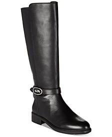 Women's Ruby Horse and Carriage Buckle Wide Calf Leather Boots