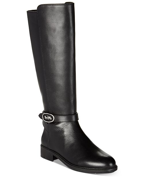 COACH Women's Ruby Horse and Carriage Buckle Wide Calf Leather Boots