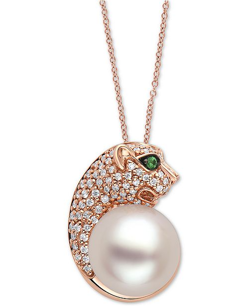 "EFFY Collection EFFY® Cultured Freshwater Pearl (10mm), Diamond (1/4 ct. t.w.) & Tsavorite Panther Head 18"" Pendant Necklace in 14k Rose Gold"