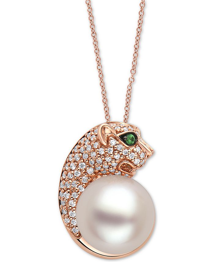 """EFFY Collection - Cultured Freshwater Pearl (10mm), Diamond (1/4 ct. t.w.) & Tsavorite Panther Head 18"""" Pendant Necklace in 14k Rose Gold"""