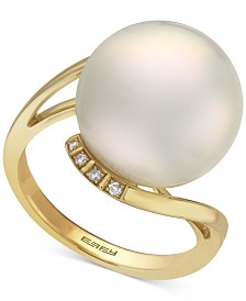 EFFY® Cultured Freshwater Pearl (14-1/2mm) & Diamond Accent Ring in 14k Gold