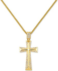 "Men's Crystal Accent Cross 24"" Pendant Necklace in Yellow Ion-Plated Stainless Steel"