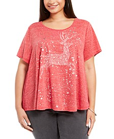 Plus Size Reindeer-Print T-Shirt, Created For Macy's