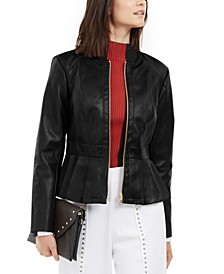 I.N.C. Faux-Leather Peplum Jacket, Created For Macy's