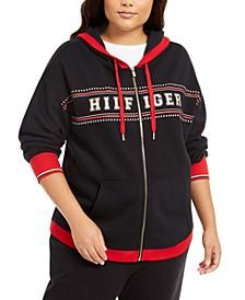 Plus Size Logo-Print Zip-Front Hoodie
