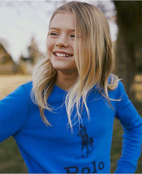 Polo Ralph Lauren Little Girls Atlantic Terry Logo Sweatshirt