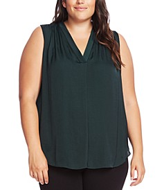 Plus Size Inverted-Pleat Top