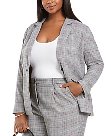 Plus Size Glen Plaid Notch-Collar Blazer