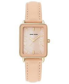 Anne Klein Women's Blush Leather Strap Watch 26x32mm