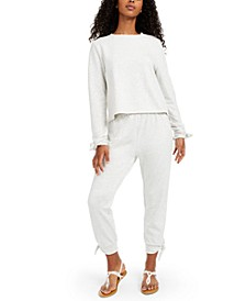 Juniors' Bow Cover-Up Sweatshirt &  Juniors' Tie-Cuff Cover-Up Pants, Created for Macy's
