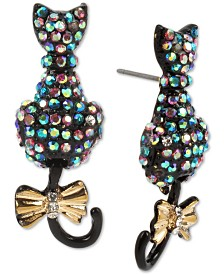 Betsey Johnson Two-Tone Pavé Cat Stud Earrings
