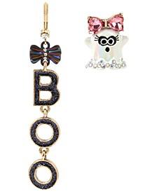 Two-Tone Crystal & Glitter Boo-Ghost Mismatch Drop Earrings